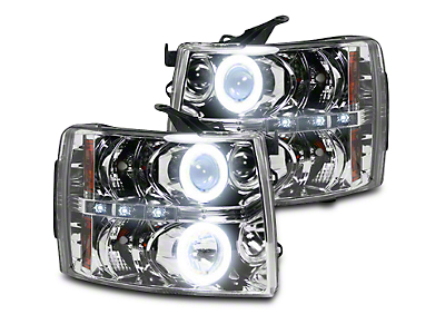 Recon Chrome Projector Headlights w/ CCFL Halos & Daytime Running Lights - Clear Lens (07-13 Silverado 1500)