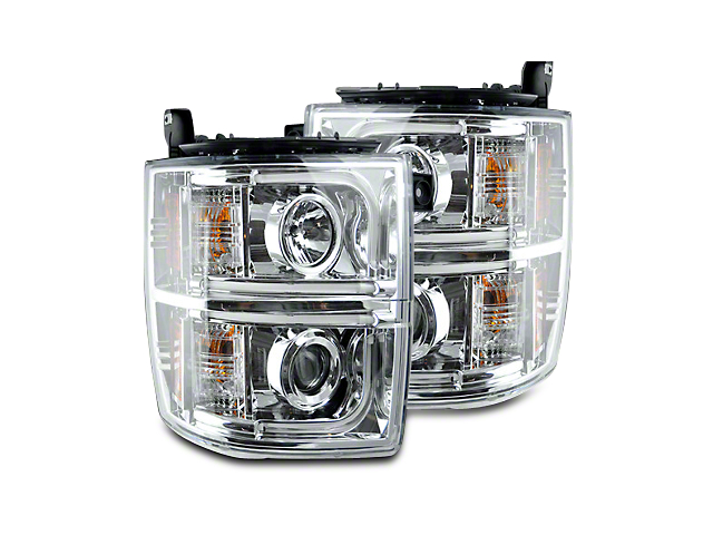 Chrome Projector Headlights w/ OLED Halos & Daytime Running Lights - Clear Lens (14-15 Silverado 1500)