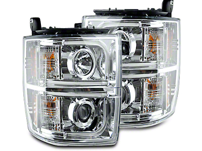 Recon Chrome Projector Headlights w/ OLED Halos & Daytime Running Lights - Clear Lens (14-15 Silverado 1500)