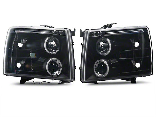 Axial Black Dual Halo Projector Headlights w/ LED Accent Lights (07-13 Silverado 1500)