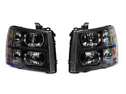 Euro Crystal Headlights; Black (07-13 Silverado 1500)