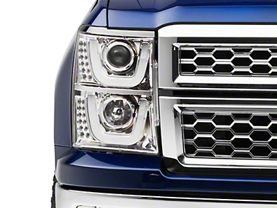 Axial Chrome Dual U-Bar Halo Projector Headlights w/ LED Turn Signals (14-15 Silverado 1500)