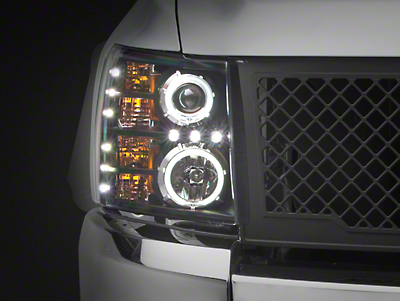 Axial Black Dual CCFL Halo Projector Headlights (07-13 Silverado 1500)