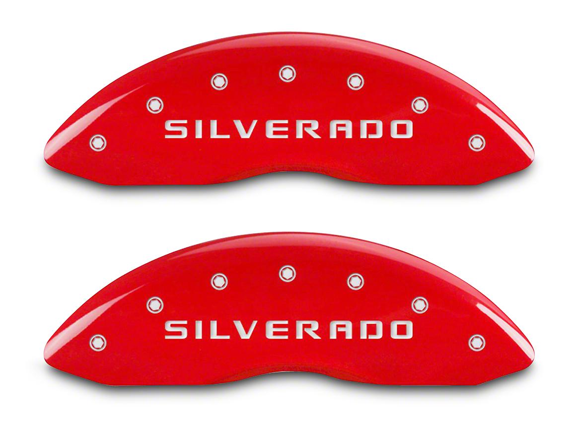 MGP Red Caliper Covers w/ Silverado Logo - Front & Rear (14-18 Silverado 1500)