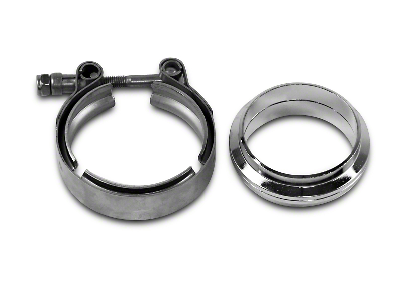 GMS 2.5 in. Mating Flat Flange w/ V-Band Exhaust Clamp - Stainless Steel (Universal Fitment)