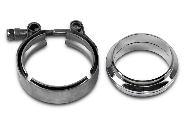 GMS 2.5 in. Mating Flat Flange w/ V-Band Exhaust Clamp - Stainless Steel (07-18 Silverado 1500)