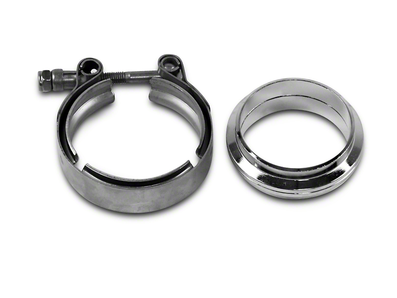 GMS 2.5 in. Mating Flat Flange w/ V-Band Exhaust Clamp - Mild Steel (07-18 Silverado 1500)