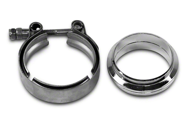 Granatelli Motor Sports 2.5 in. Mating Flat Flange w/ V-Band Exhaust Clamp - Mild Steel (Universal Fitment)