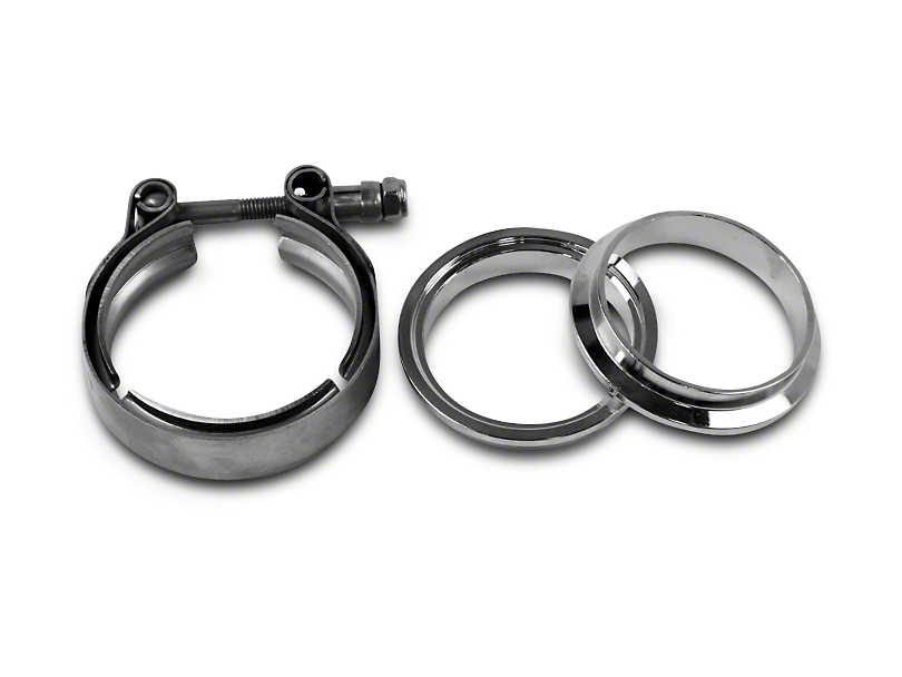 GMS 3 in. Interlocking Flange w/ V-Band Exhaust Clamp - Mild Steel (07-18 Silverado 1500)