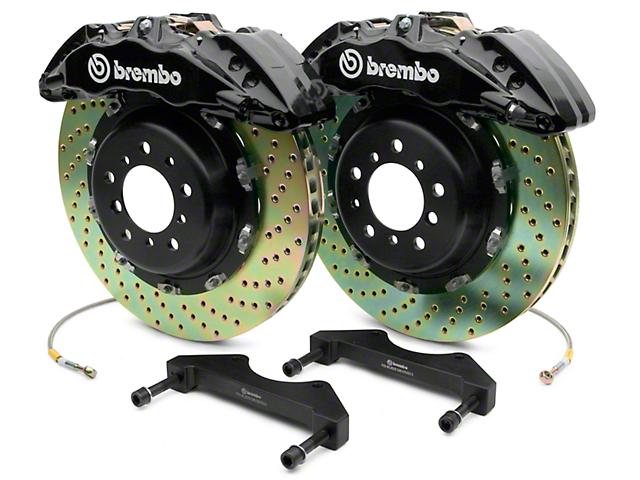 Brembo GT Series 6-Piston Front Big Brake Kit with 2-Piece Cross Drilled Rotors; Black Calipers (07-18 Silverado 1500)
