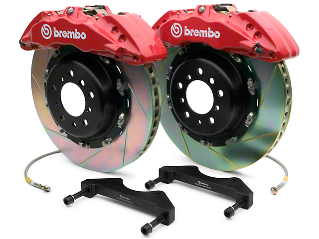 Brembo GT Series 6-Piston Front Brake Kit - 2-Piece Slotted Rotors - Red (07-18 Silverado 1500)