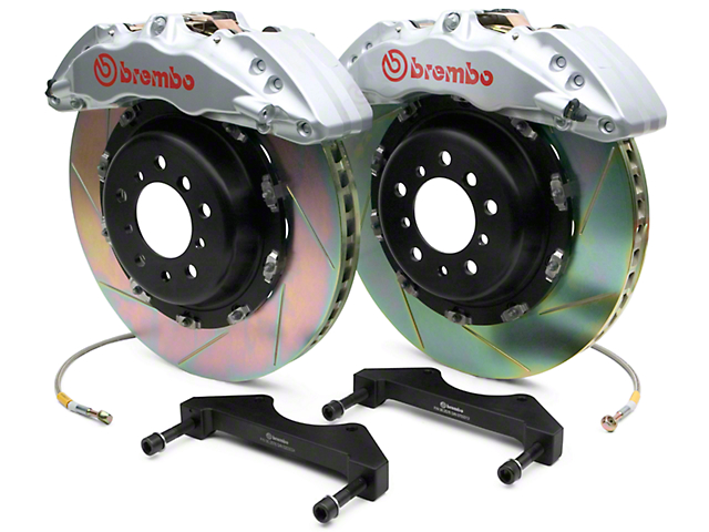Brembo GT Series 6-Piston Front Big Brake Kit with 2-Piece Slotted Rotors; Silver Calipers (07-18 Silverado 1500)