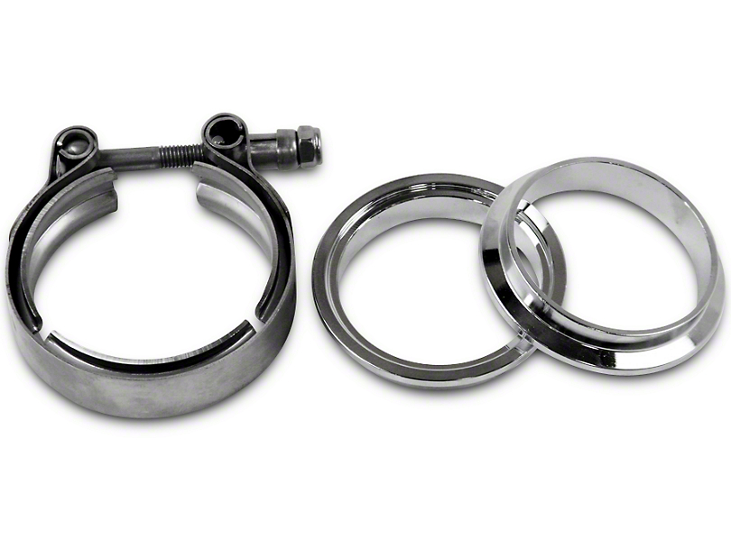 GMS 2.5 in. Mating Male to Female Interlocking Flange w/ V-Band Exhaust Clamp - Mild Steel (99-19 Silverado 1500)