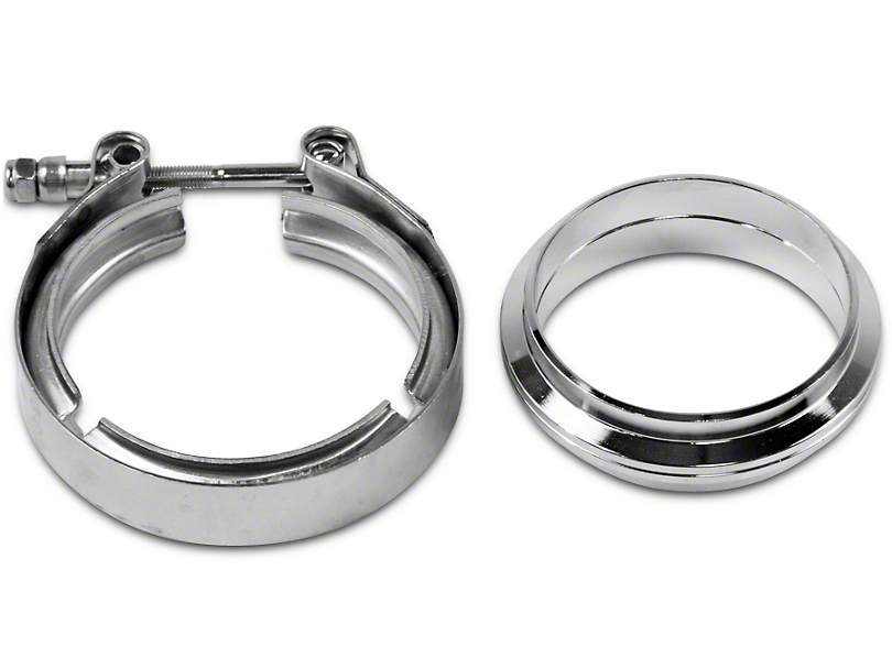 GMS 3 in. Mating Flat Flange w/ V-Band Exhaust Clamp - Stainless Steel (99-18 Silverado 1500)