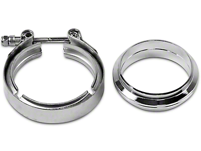 GMS 3 in. Mating Flat Flange w/ V-Band Exhaust Clamp - Stainless Steel (07-18 Silverado 1500)