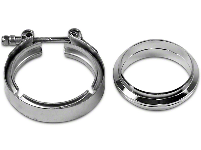 GMS 3 in. Mating Flat Flange w/ V-Band Exhaust Clamp - Mild Steel (99-19 Silverado 1500)