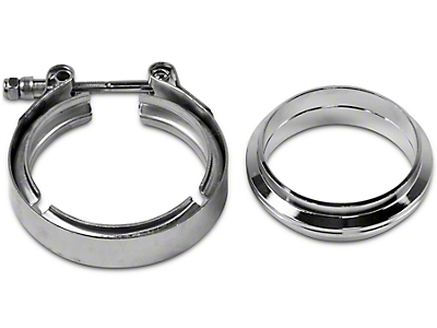 GMS 3 in. Mating Flat Flange w/ V-Band Exhaust Clamp - Mild Steel (99-18 Silverado 1500)