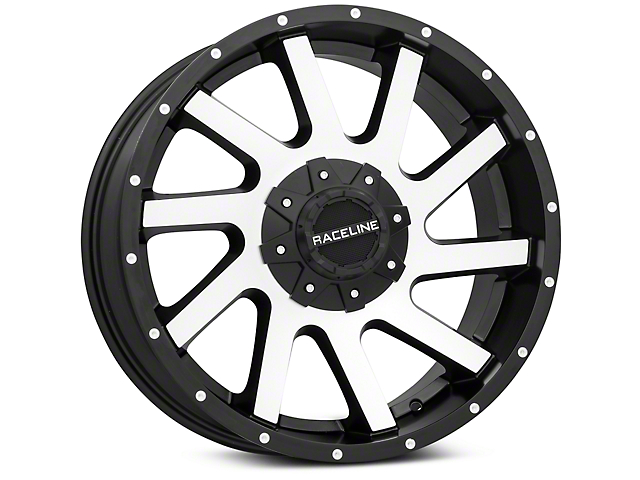 Raceline Twist Black Machined 6-Lug Wheel; 20x9 (99-20 Silverado 1500)