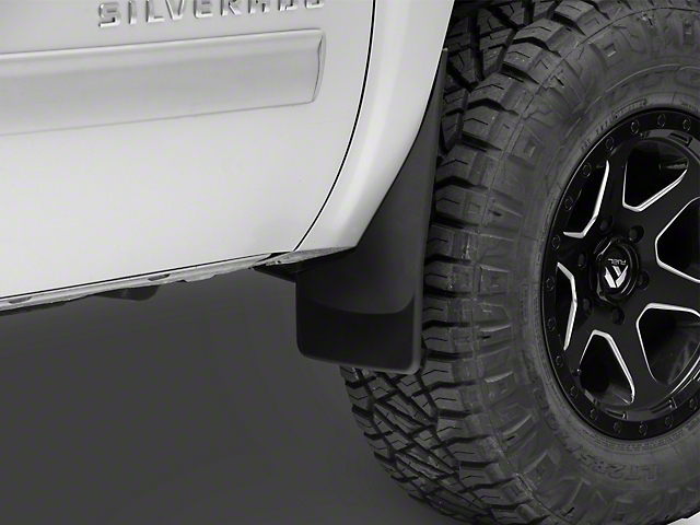 Weathertech No-Drill Mud Flaps; Front; Black (07-13 Silverado 1500 w/o Fender Flares)