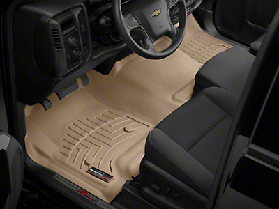 Weathertech DigitalFit Front & Rear Floor Liners - Over the Hump - Cocoa (14-18 Silverado 1500 Double Cab)