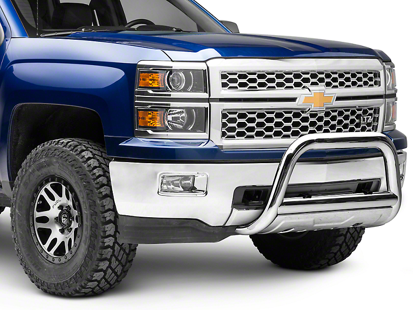 Barricade 3.5 in. Oval Bull Bar w/ Skid Plate - Stainless Steel (07-18 Silverado 1500)