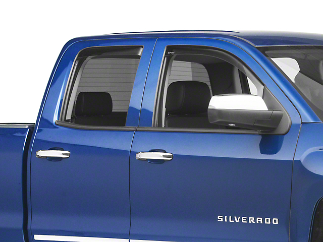 Weathertech Window Deflectors; Front and Rear; Dark Smoke (14-18 Silverado 1500 Double Cab, Crew Cab)