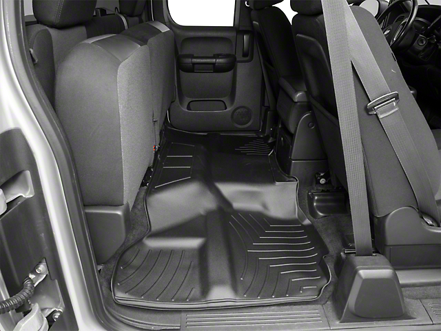 Weathertech DigitalFit Rear Floor Liner; Black (07-13 Silverado 1500 Extended Cab, Crew Cab, Excluding Hybrid)