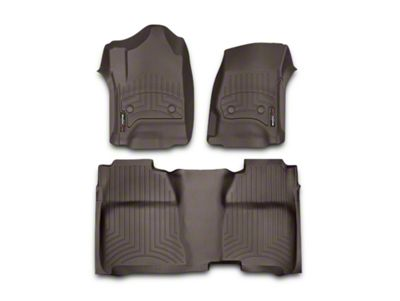 Weathertech DigitalFit Front & Rear Floor Liners w/ Underseat Coverage - Cocoa (14-18 Silverado 1500 Crew Cab w/o Floor Shifter)