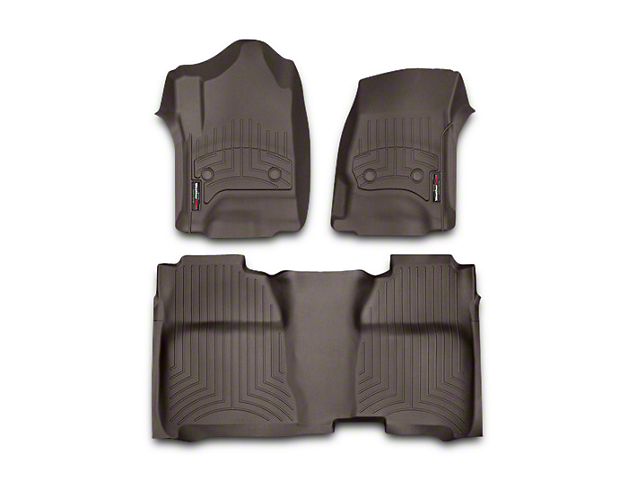 Weathertech DigitalFit Front & Rear Floor Liners w/ Underseat Coverage - Cocoa (14-18 Silverado 1500 Crew Cab)
