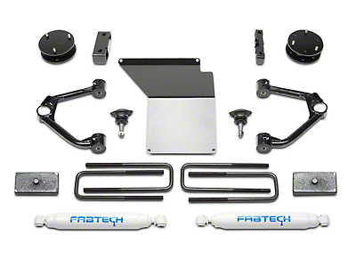 Fabtech 4 in. Budget Lift System w/ Shocks (14-18 2WD/4WD Silverado 1500 Double Cab, Crew Cab w/ Cast Aluminum or Stamped Steel Control Arms)