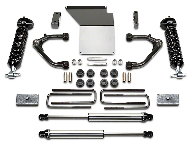 Fabtech 4-Inch Uniball Upper Control Arm System with Dirt Logic Coil-Overs and Shocks (14-18 2WD/4WD Silverado 1500 Double Cab, Crew Cab)