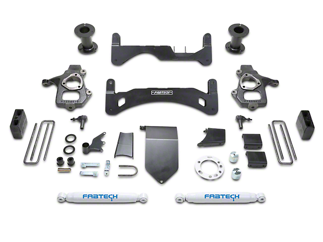 Fabtech 6-Inch GEN II Basic Suspension Lift Kit with Shocks (14-18 2WD/4WD Silverado 1500 Double Cab, Crew Cab)