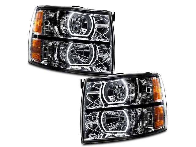 Oracle OE Style Headlights with Square Ring Plasma Halo; Black Housing; Clear Lens (07-13 Silverado 1500)