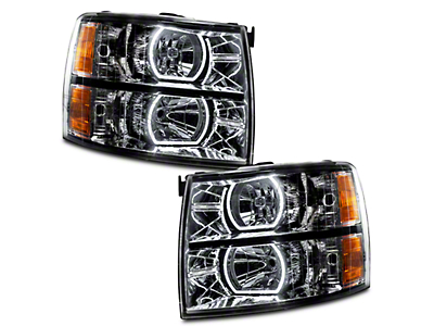 Oracle Black OE Style Headlights w/ Square Ring Plasma Halos (07-13 Silverado 1500)