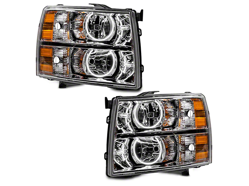Oracle Chrome OE Style Headlights w/ Round Ring Plasma Halos (07-13 Silverado 1500)