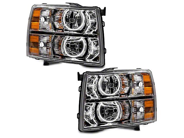 Chrome OE Style Headlights w/ Round Ring Plasma Halos (07-13 Silverado 1500)