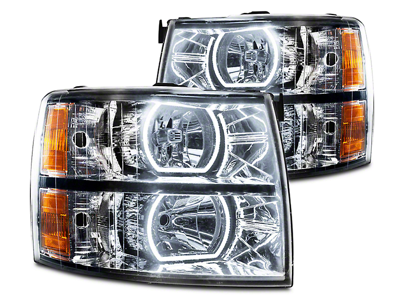 Oracle Chrome OE Style Headlights w/ Square Ring Plasma Halos (07-13 Silverado 1500)