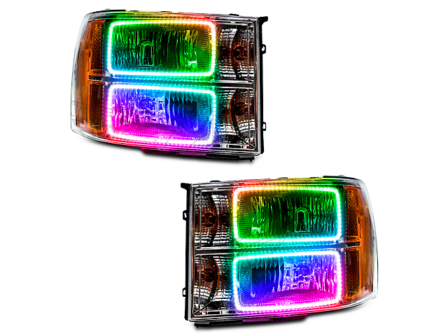 Oracle Chrome OE Style Headlights w/ ColorSHIFT Square Ring LED Halos (07-13 Silverado 1500)