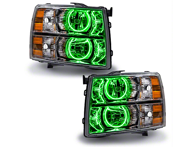 Oracle Chrome OE Style Headlights w/ ColorSHIFT Round Ring LED Halos (07-13 Silverado 1500)