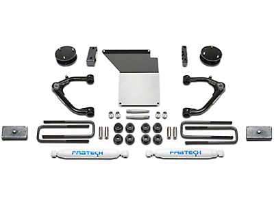 Fabtech 4 in. Uniball Upper Control Arm System w/ Shocks (14-18 2WD/4WD Silverado 1500 Double Cab, Crew Cab w/ Stock Cast Aluminum or Stamped Steel Control Arms)