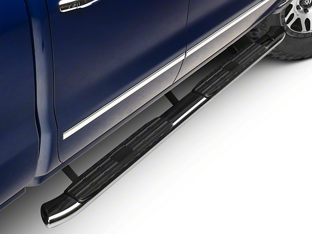 Barricade Pinnacle 4-Inch Oval Bent End Side Step Bars; Rocker Mount; Stainless Steel (14-18 Silverado 1500 Double Cab, Crew Cab)