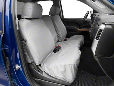 Covercraft Front Row SeatSaver Seat Covers - Polycotton Gray (07-18 Silverado 1500 w/ Bench Seat)