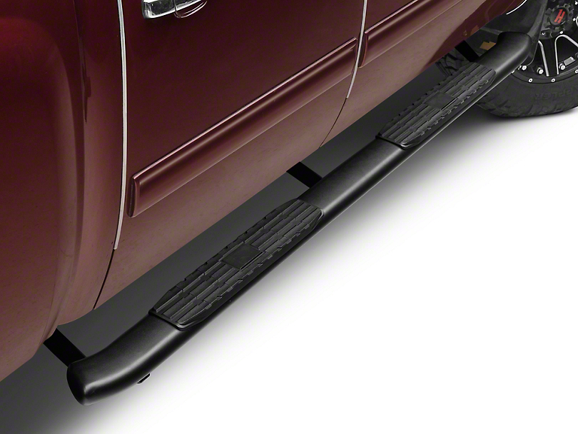 Barricade Pinnacle 4 in. Oval Bent Side Step Bars - Black - Body Mount (07-13 Silverado 1500 Extended Cab, Crew Cab)
