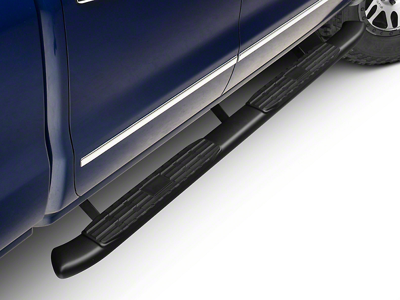 Barricade Pinnacle 4 in. Oval Bent End Rocker Mount Side Step Bars - Black (14-18 Silverado 1500 Double Cab, Crew Cab)