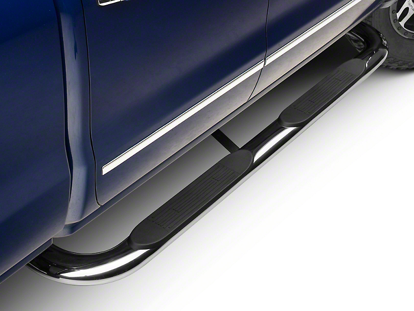 Barricade 4 in. Oval Bent End Body Mount Side Step Bars - Stainless Steel (14-18 Silverado 1500)