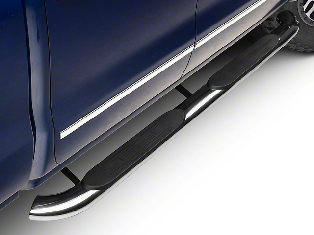 Barricade 4 in. Oval Bent End Rocker Mount Side Step Bars - Stainless Steel (14-18 Silverado 1500)