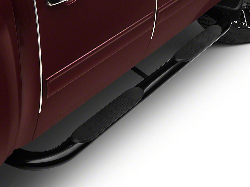Barricade 4 in. Oval Bent End Body Mount Side Step Bars - Black (99-13 Silverado 1500)