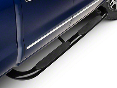 Barricade 4 in. Oval Bent Side Step Bars - Black - Body Mount (14-18 Silverado 1500)