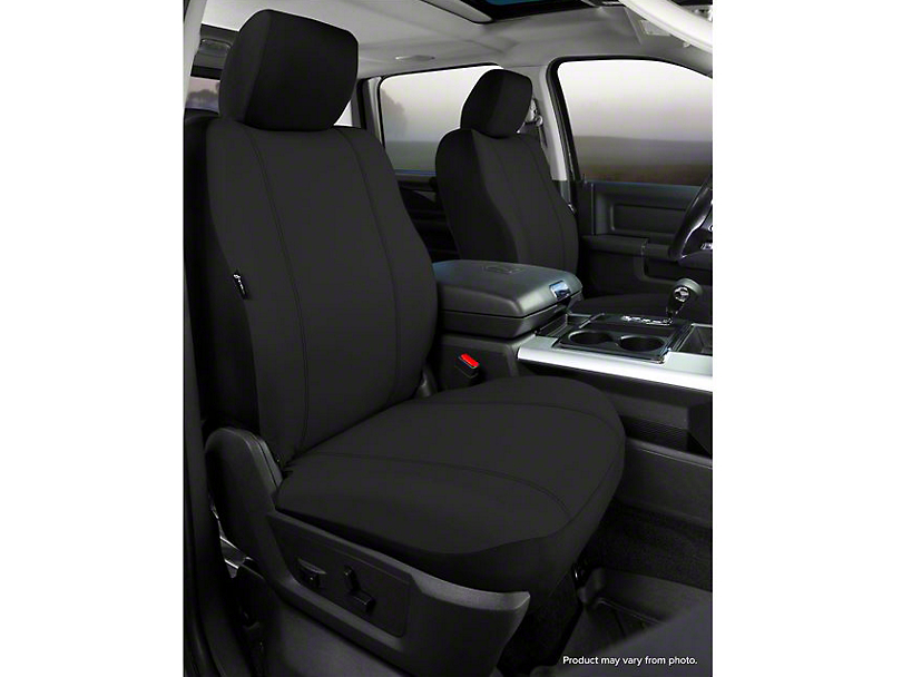 Fia Custom Fit Poly-Cotton Front Seat Covers - Black (07-13 Silverado 1500 w/ Bucket Seats)