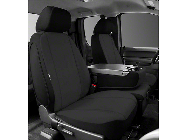 Fia Custom Fit Poly-Cotton Front Seat Covers - Black (07-13 Silverado 1500 w/ Bench Seat)